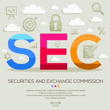 SEC mean (securities and exchange commission) ,letters and icons,Vector illustration.