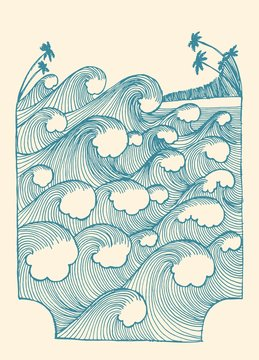 Waves vintage pattern illustration with the palm-trees on the beach. Vintage tropical vacation vector illustration t-shirt print.