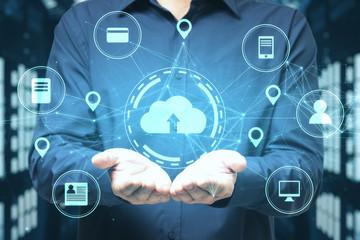 Businessman holding online shopping diagram.