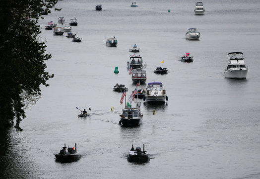People in boats protest the Washington State recreational fishing ban, enacted due to the coronavirus disease (COVID-19) outbreak in Seattle