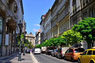 Budapest / Hungary, August 16, 2018: Postcard view of Budapest - the most beautiful city in Hungary with narrow old streets