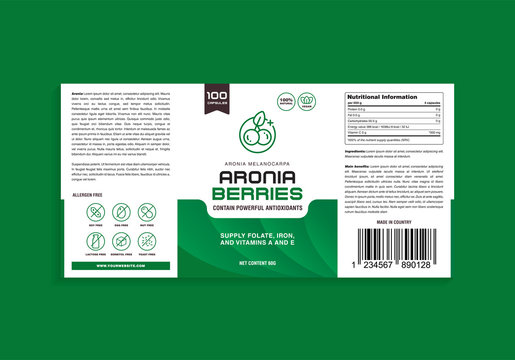 Aronia Berries Supplement Vitamin Organic Alergen Free Label Design