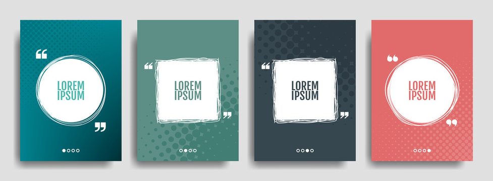Quote banner set. Quote speech bubble blank templates set. Text in brackets, quoting blank frames, quote bubbles. Text box isolated on color background. Vector illustration.