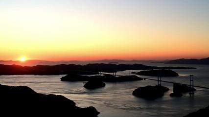Wall Mural - 亀老山より日没間際の来島海峡と来島海峡大橋