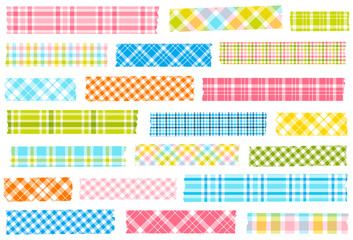 Collection of plaid washi tape. Semi-transparent masking tape or adhesive strips. EPS file has global colors for easy color changes.