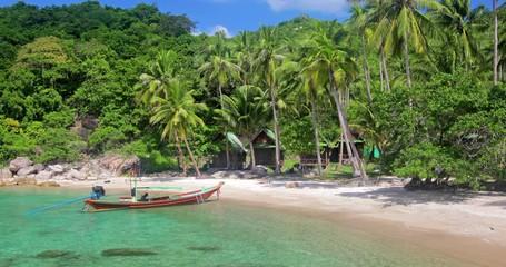 Fototapete - beach and coconut palm trees. Koh Tao, Thailand
