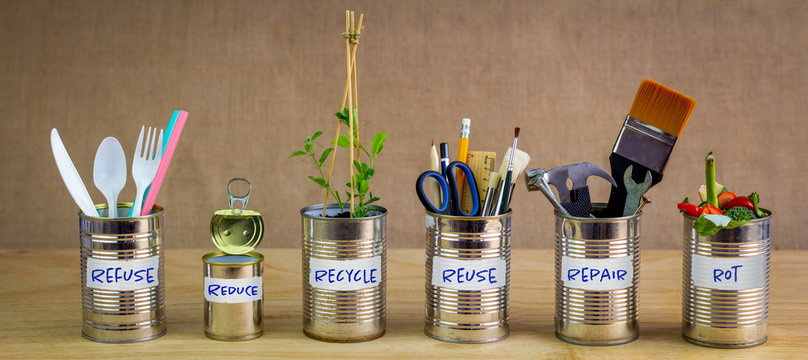 Zero Waste management, illustrated in 6 old tin cans with labels Refuse, reduce, recycle, repair, reuse, rot. Save money, eco lifestyle, sustainable living and zero waste concept
