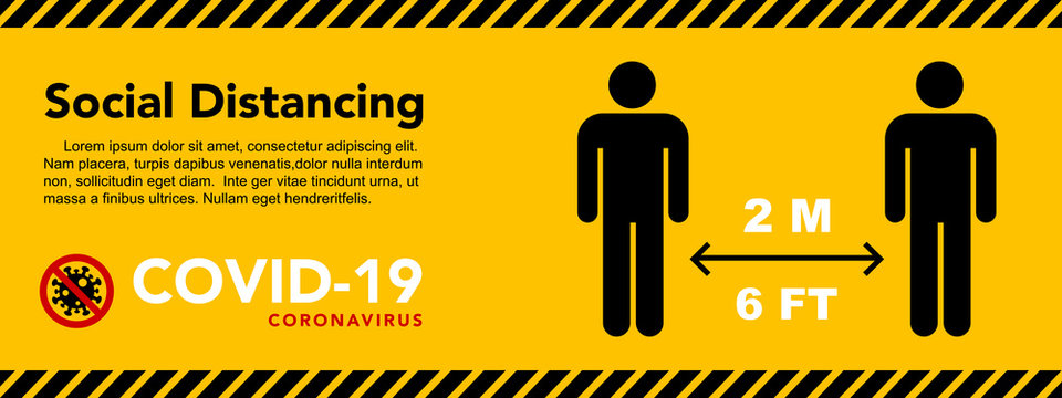Social distancing banner. Keep the 2 meter distance. Coronovirus epidemic protective.