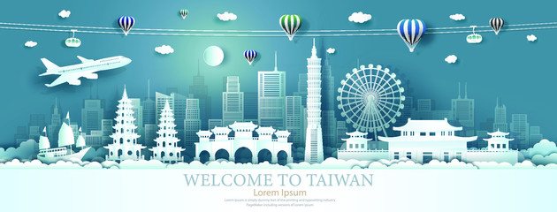 Wall Mural - Travel Asia landmarks of Taiwan with airplane, sailboat and balloons.