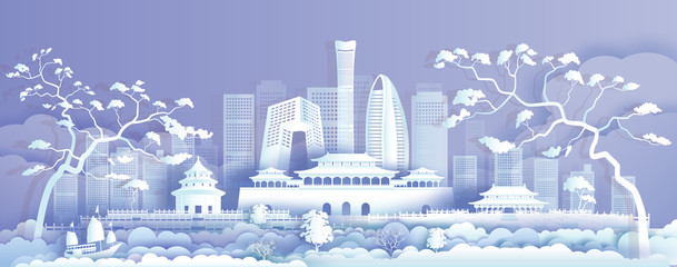 Wall Mural - Travel Asia landmarks cityscape of beijing on purple background.