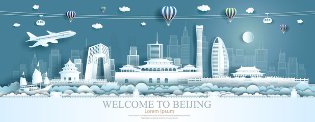Fotomurales - Travel Asia landmarks of Beijing with airplane, sailboat and balloons.