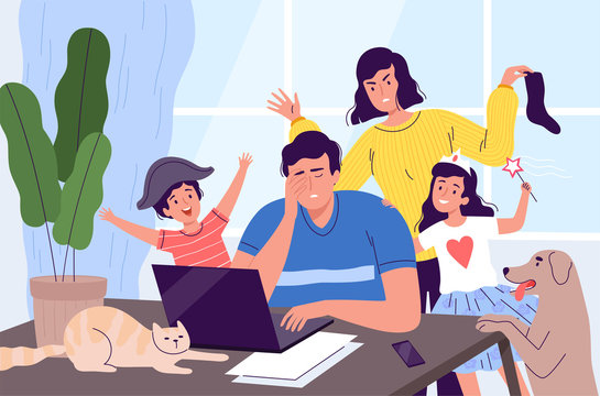 Freelancer man is distracted from work on a laptop at home. Children, pets, and a wife stop dad from working. Noisy family at home in quarantine. People work from home.