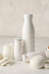 Aluminium Prints Dairy products Different dairy products without lactose on light background