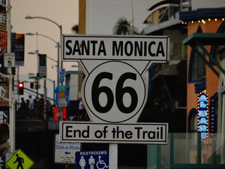 Photo sur Aluminium Route 66 Route 66 Sign In Santa Monica
