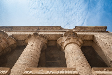 Columns in Horus's temple in Edfu, Egypt