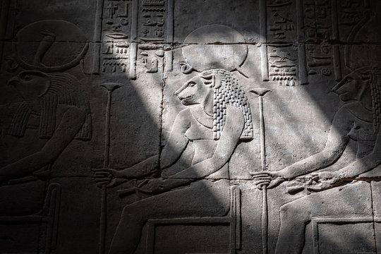 The lion head goddess Sejmet in Edfu Temple, Egypt