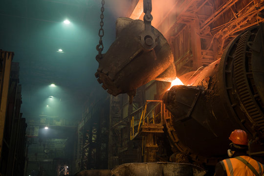 Copper smelting at a metallurgical plant