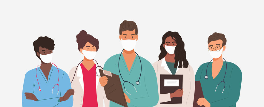 Diverse group of medics or health workers standing in a line wearing uniforms and face masks during the Covid-19 pandemic in a panorama banner, vector illustration