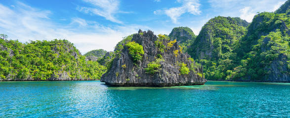 Landscape of tropical islands with rocks. Coron, El Nido, Philippines. Banner.