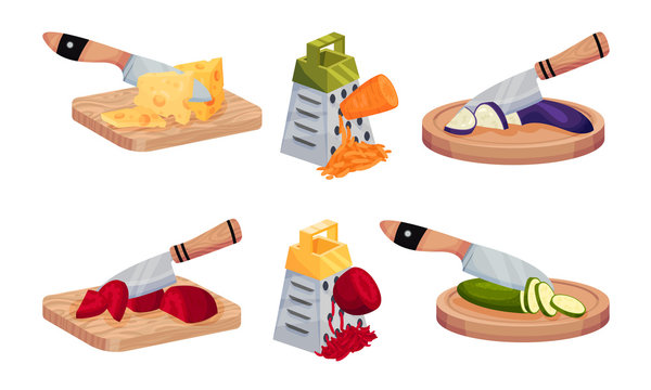 Vegetable Cutting with Knife and Grating with Grater Vector Set
