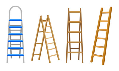 Wooden or Steel Step Ladders for Domestic and Construction Needs Vector Set