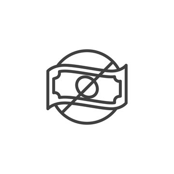 No money line icon. linear style sign for mobile concept and web design. No cash money outline vector icon. Symbol, logo illustration. Vector graphics