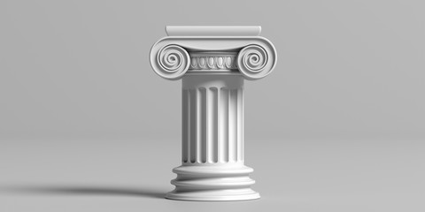 Marble pillar column classic greek against gray background. 3d illustration
