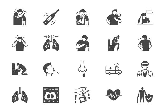 Coronavirus, flue virus symptoms flat icons. Vector illustration included icon as cough, fever, lung ct scan, pneumonia prevention black silhouette pictogram for medical infographic