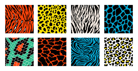 Animal skin background pattern vector set. Safari textile collection. Giraffe, zebra, leopard, jaguar.  Animal backgrounds for textile design, wrapping paper, prints.