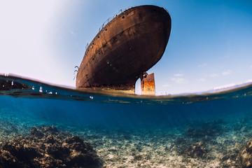 Acrylic Prints Shipwreck Telamon wreck ship underwater in ocean near Arrecife, Lanzarote island