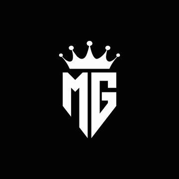 MG logo monogram emblem style with crown shape design template