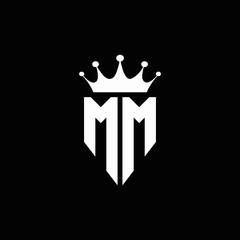 MM logo monogram emblem style with crown shape design template