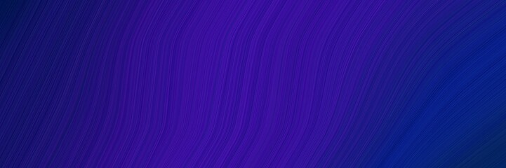 Poster Violet elegant surreal card with midnight blue and indigo colors. fluid curved flowing waves and curves