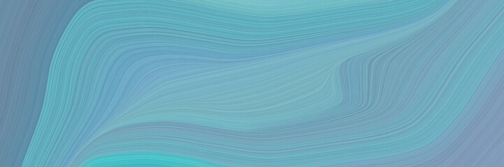 elegant artistic horizontal card with cadet blue, slate gray and pastel blue colors. fluid curved flowing waves and curves Fototapete