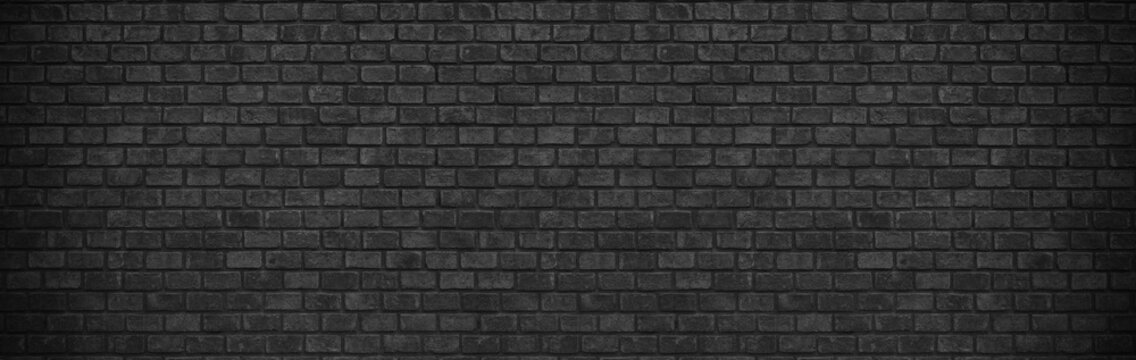 darl black grey brick wall , wide panorama of masonry ,panaromic hight resolution photo