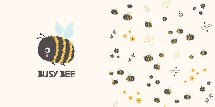 Busy bee. Cartoon seamless pattern and surface design