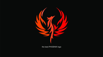 great phoenix logo, in black, red, white backgroud, vector illustrations