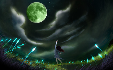 illustration The woman who returned home with the bike stopped taking photos of the moon.  Digital Painting
