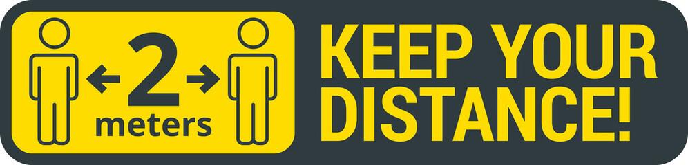 Obraz COVID-19 safety measure Keep safe social distance sign - fototapety do salonu