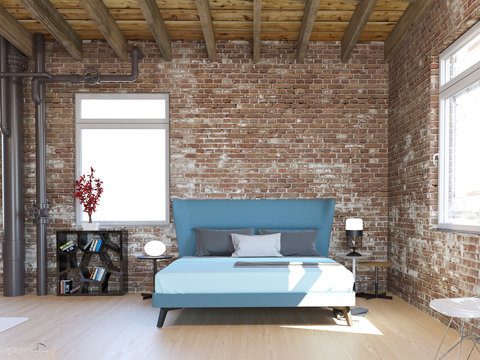 3d rendering of new industrial loft bedroom