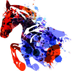 Color vector illustration of a horse