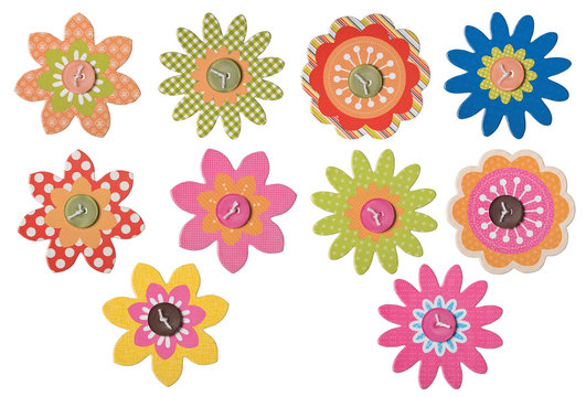 10 Craft flowers isolated on white. Clipping paths included.