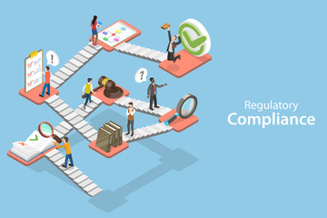 3D Isometric Flat Vector Concept of Regulatory Compliance, Steps That Are Needed to Be Complied With Relevant Laws, Policies and Regulations. Wall mural