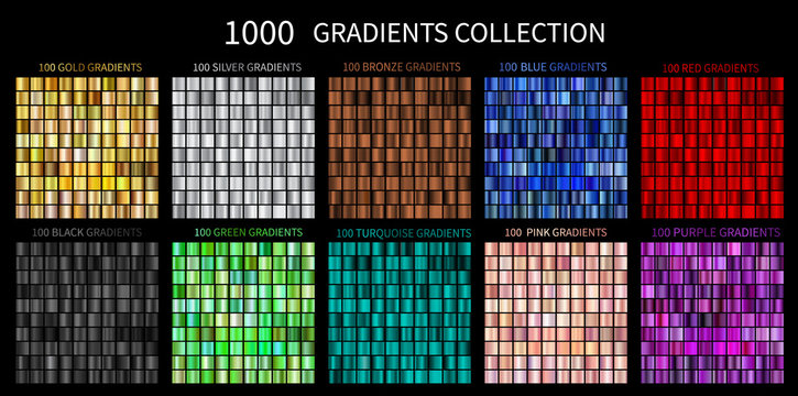 Gradients Vector Megaset Big collection of metallic gradients 1000 glossy colors backgrounds