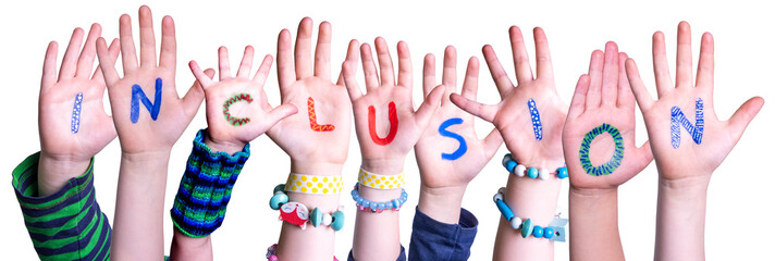 Children Hands Building Colorful Word Inclusion. White Isolated Background