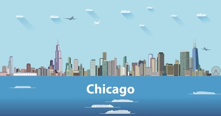 Wall Mural - United States largest cities' skylines animation