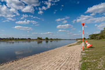 riverside of river elbe at low water level in spring time