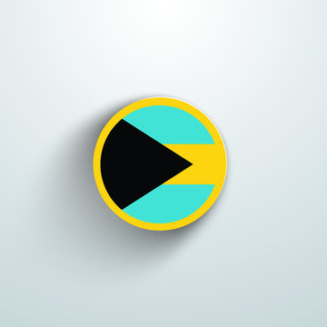 Bahamas Country Flag Vector Circular Illustration. Country Flag 3d button shape