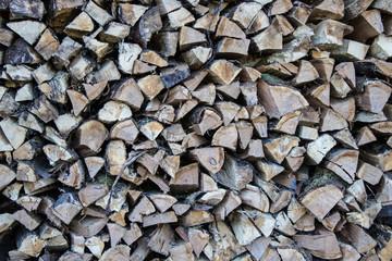Holzvorrat für den Winter im Wald
