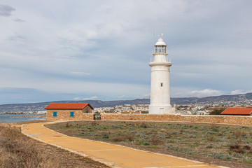 white and old lighthouse in cyprus